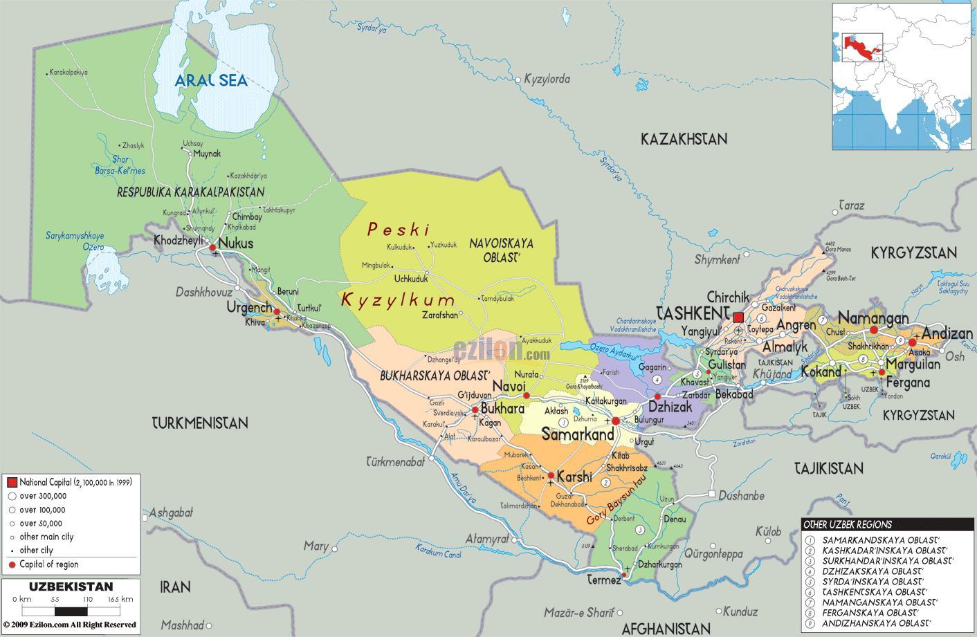 Karta Uzbekistana Kartica Uzbekistana Srednja Azija Azija